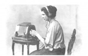 Image of Mary Jameson using the optophone reading machine to read Anthony Trollope's The Warden.