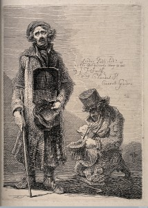 Two blind beggars, by John Thomas Smith. Etching (1816). Wellcome Library, London.
